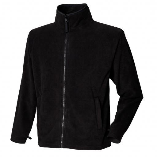 BLACK - Unisex Microfleece Jacket with embroidered college logo (Staff only)