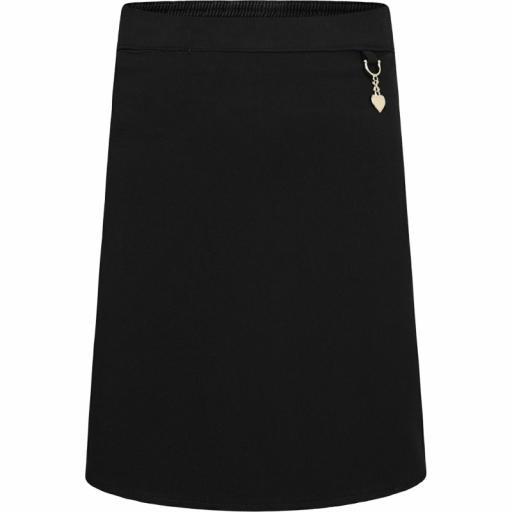 Junior Girls Straight Skirt with Elasticated Waist - Black