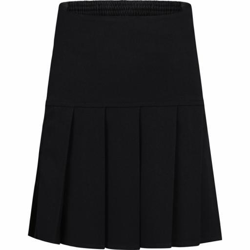 Girls Drop Waist Fan Pleated Skirt - Black