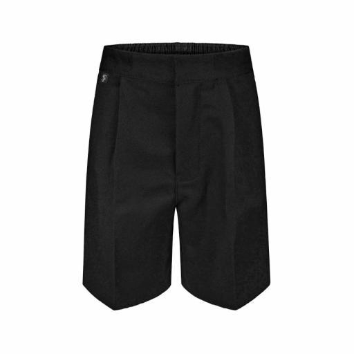 Junior Boys Tailored School Shorts with Elasticated Waist - Black
