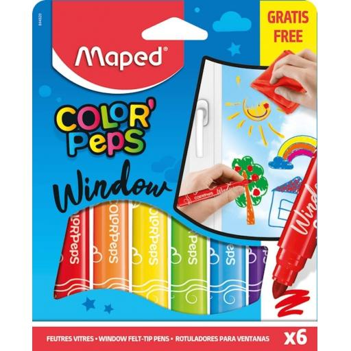 Maped® 'ColorPeps' Window Marker Felt Colouring Pens - Pack of 6