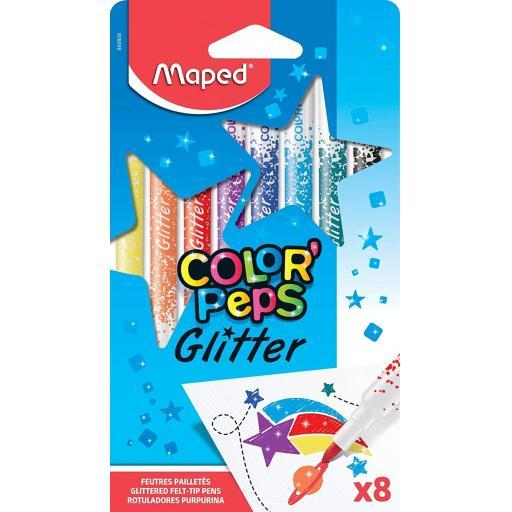 Maped® 'ColorPeps' Glitter Felt Tip Pens - Pack of 8