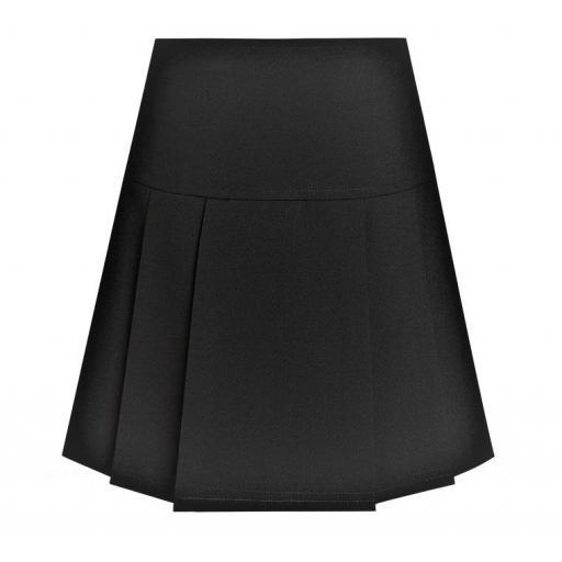 Junior Girls Drop Waist Pleated Skirt - Black