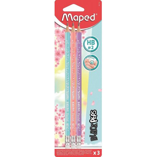 Maped® 'BlackPeps' Pastel HB Graphite Pencils - Pack of 3