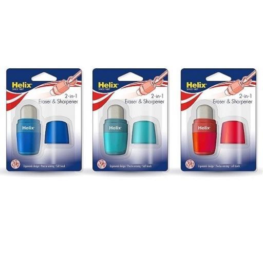 Helix® Duo Sharpener & Eraser - Assorted Colours