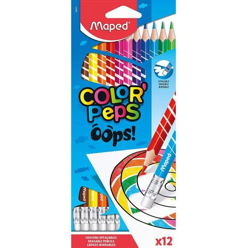 Maped® 'ColorPeps' Oops Erasable Colouring Pencils - Pack of 12