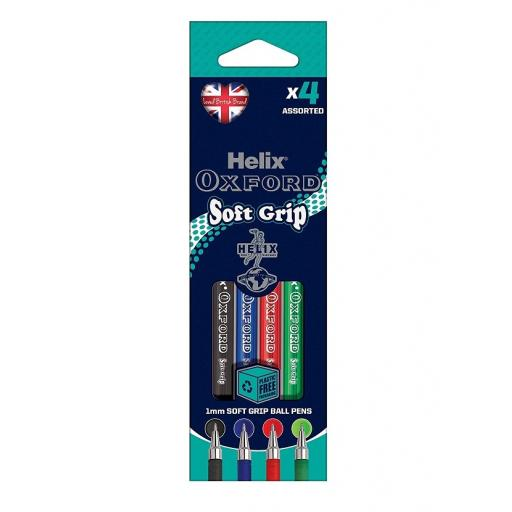Helix® Oxford Soft Grip Ballpoint Pens x 4 Pack - Assorted Colours