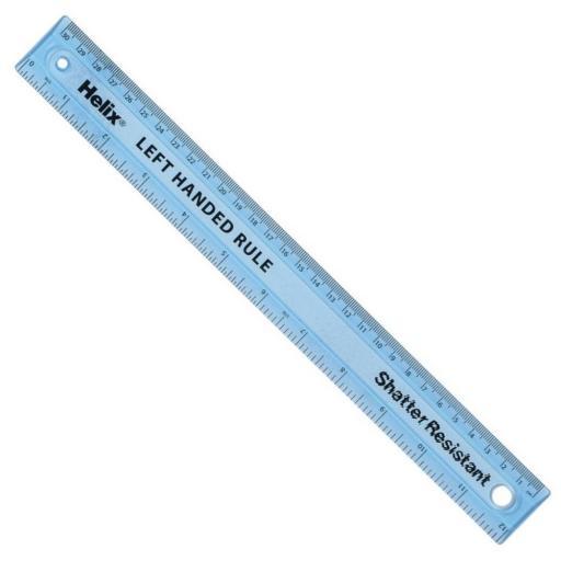 Helix® 30cm/12 inch Oxford Shatter Resistant Ruler - LEFT HANDED