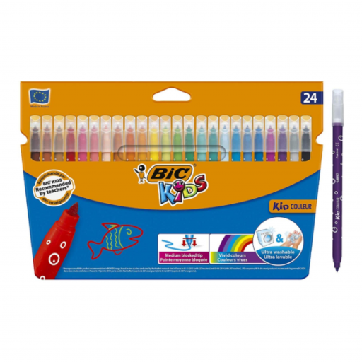 Bic® KIDS - Kid Couleur Felt Tip Colouring Pens - Cardboard Wallet of 24